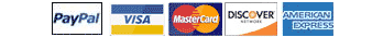 We accept PayPal Visa MasterCard Discover American Express Google Checkout