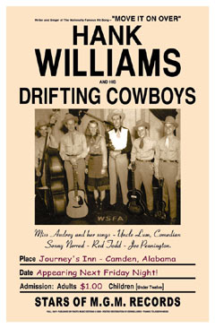Hank Williams and the Drifting Cowboys Concert Poster