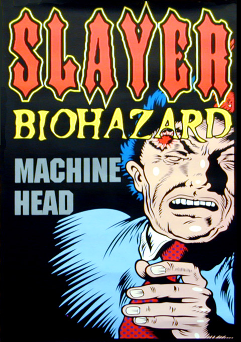 Slayer Biohazard Machine Head promotional and tour poster 1995